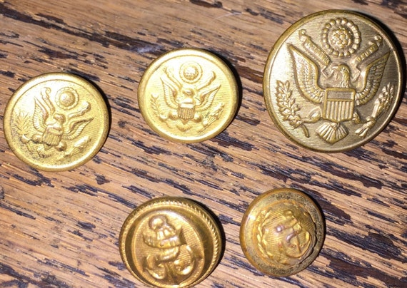 WW2 Military Buttons US Uniform Buttons Anchors Brass Eagle and Shield  Vintage Waterbury Shabeck SALE