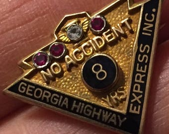 SALE Georgia Highway Express Vintage No Accident Safe Driving 8 Years Award Vintage Gold Filled Lapel Service Pin