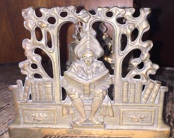 Telescopic Antique Book Rack Art Deco Brass Bookends by Judd w Scholar Sliding Bookend Edwardian #9828 Steampunk Book Rack Office Decor SALE