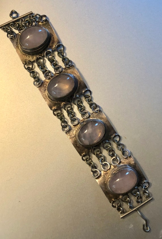Vintage Brutalist Rose Quartz Bracelet Heavy Silve