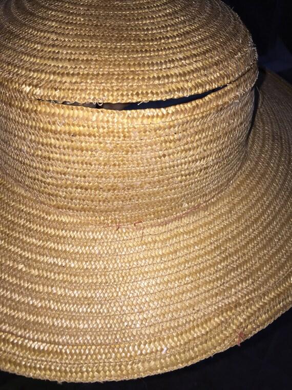 Wide Brimmed Hat Elegant 1940s Natural Straw Wide… - image 4
