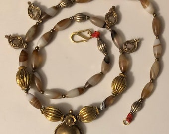 Antique Indian Banded Agate Necklace with Silver Gilt Charm Accents Handmade Grand Tour Necklace ca 1870s (Restrung)