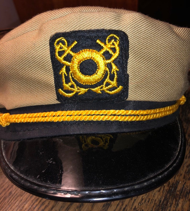 Classic Captain's Hat Tan w Black Visor Anchor Patch and Gold Cording  Approx Size 7 (small) AS IS