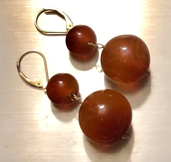 Edwardian Carnelian Earrings Antique 14K Pierced E