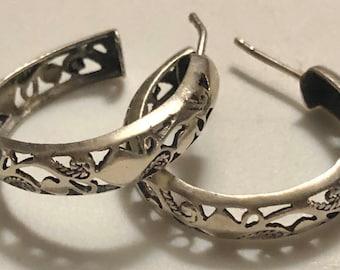 Sterling Victorian Revival Hoop Earrings Vintage Sterling Openwork Pierced Hoop Earrings