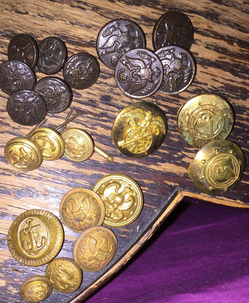 US Naval Uniform Buttons Anchors Brass Eagle and Shield Vintage WWII  Military Brass Buttons plus One Velvet Epaulet SALE