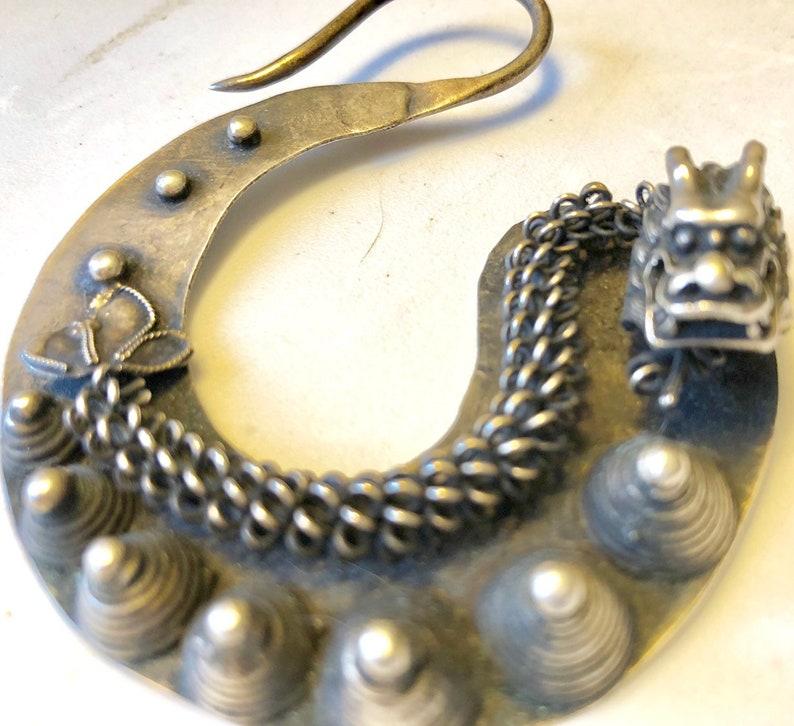 Chinese qing dynasty Dragon Earrings Sterling Silver Handmade Ornate Asian Dragon Dangling Earrings