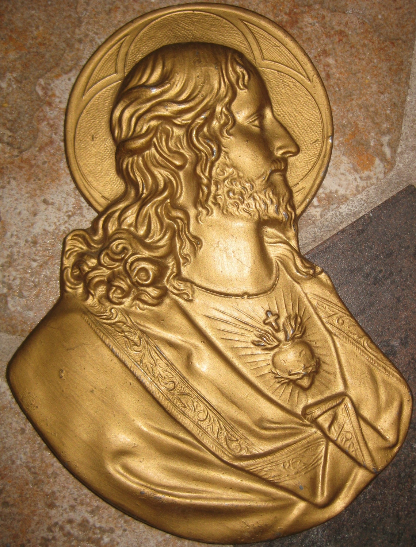 Jesus Wall Plaque Victorian Bleeding Heart Jesus Figural | Etsy