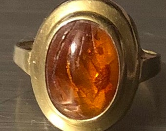 Vintage 14K Amber Ring Size 5 Real Baltic Amber Gold Pinkie Ring