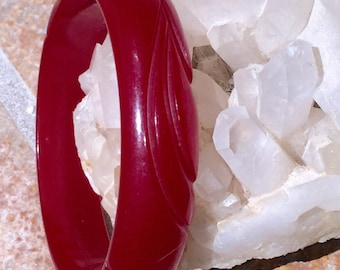 Two 1930s Art Deco Deeply Carved Cherry Bakelite Bangle Red Translucent Swirl Cherry Amber Bakelite and Red SPACER Bracelet 2 Bangles for 1!
