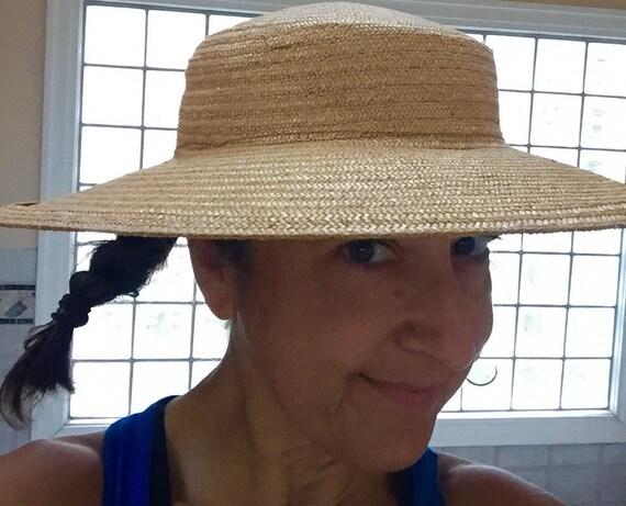 Wide Brimmed Hat Elegant 1940s Natural Straw Wide… - image 2