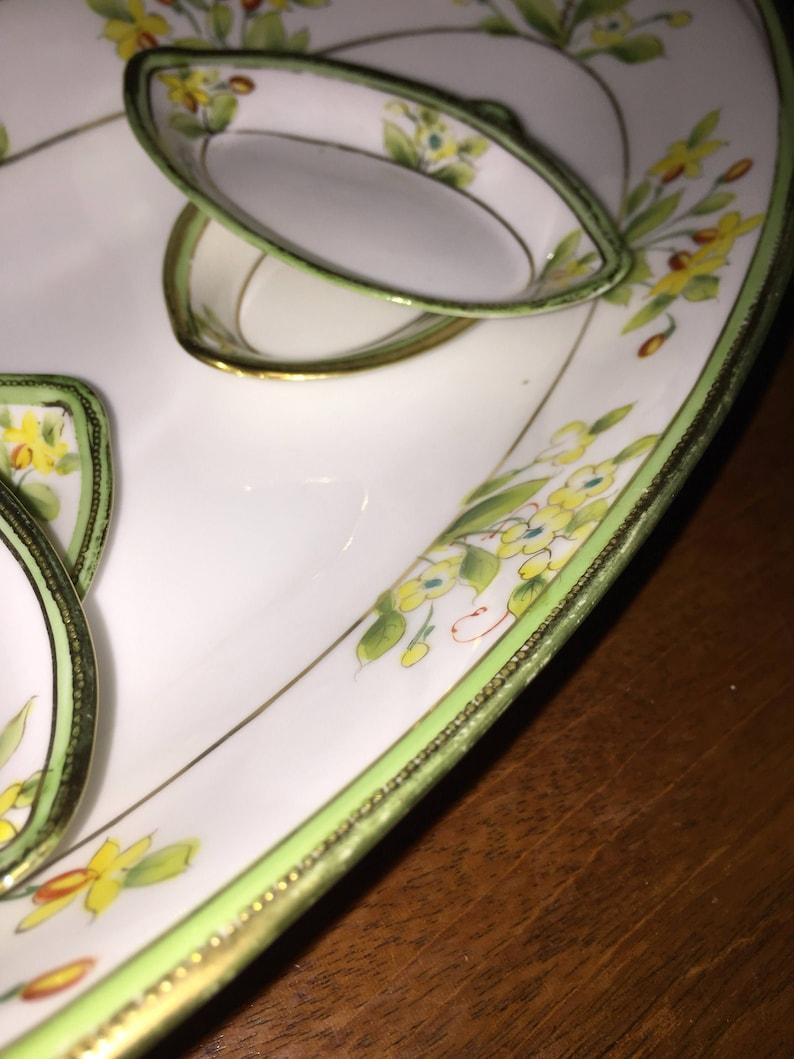 Nippon Dessert Set Long Oval Hand Painted Nippon Platter w 4 image 0