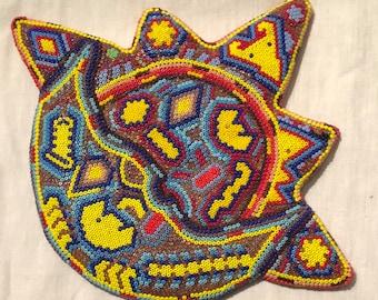 Vintage Huichol Mexican Beaded Folk Art Stylized Scorpion Coyote? Beaded Huichol folk art HUICHOL Bead Art