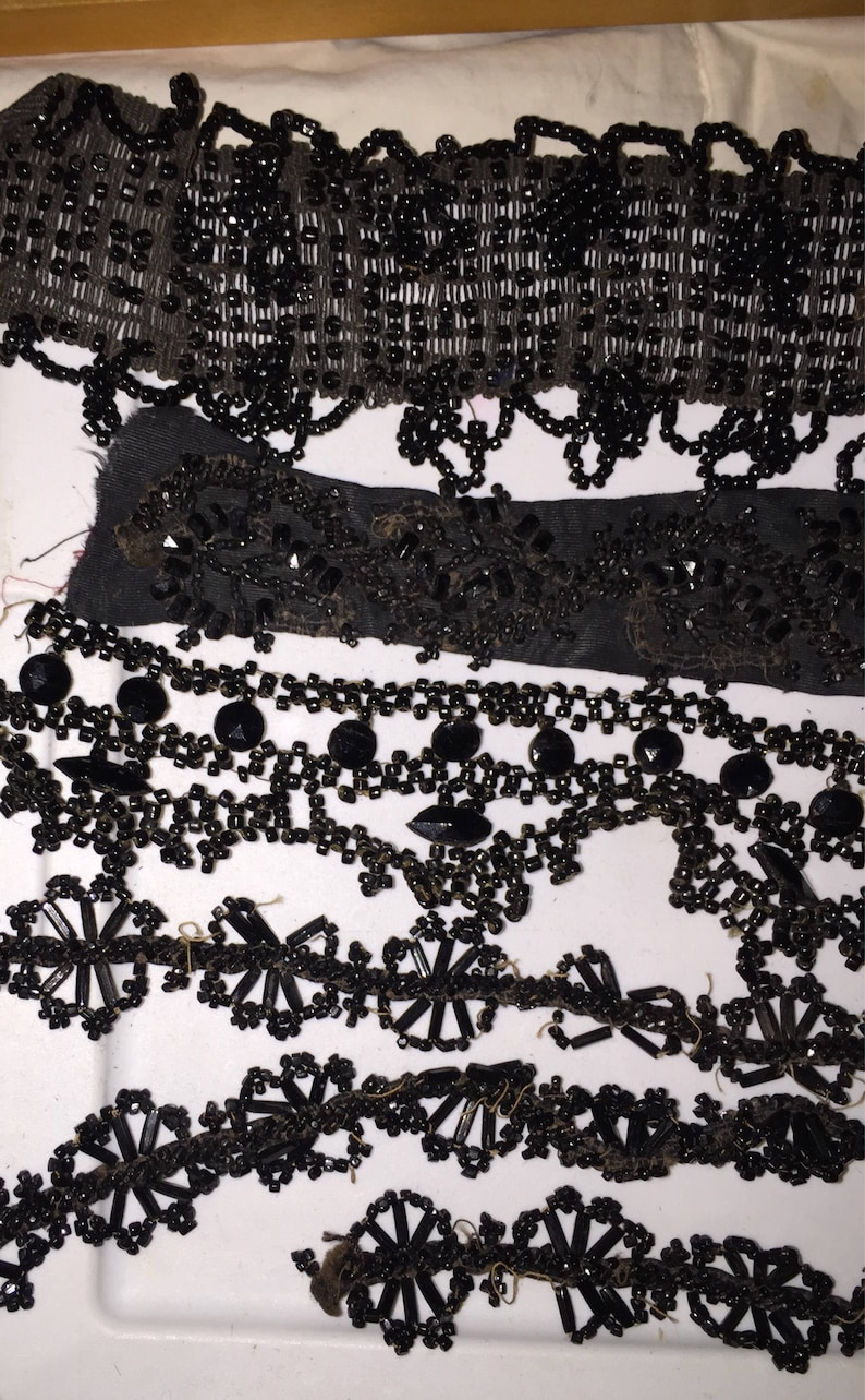 Victorian Beadwork Pieces Authentic Antique 1880s Black Mourning Beaded Pieces Destash for Re-USe and Projects Bead Job Lot SALE
