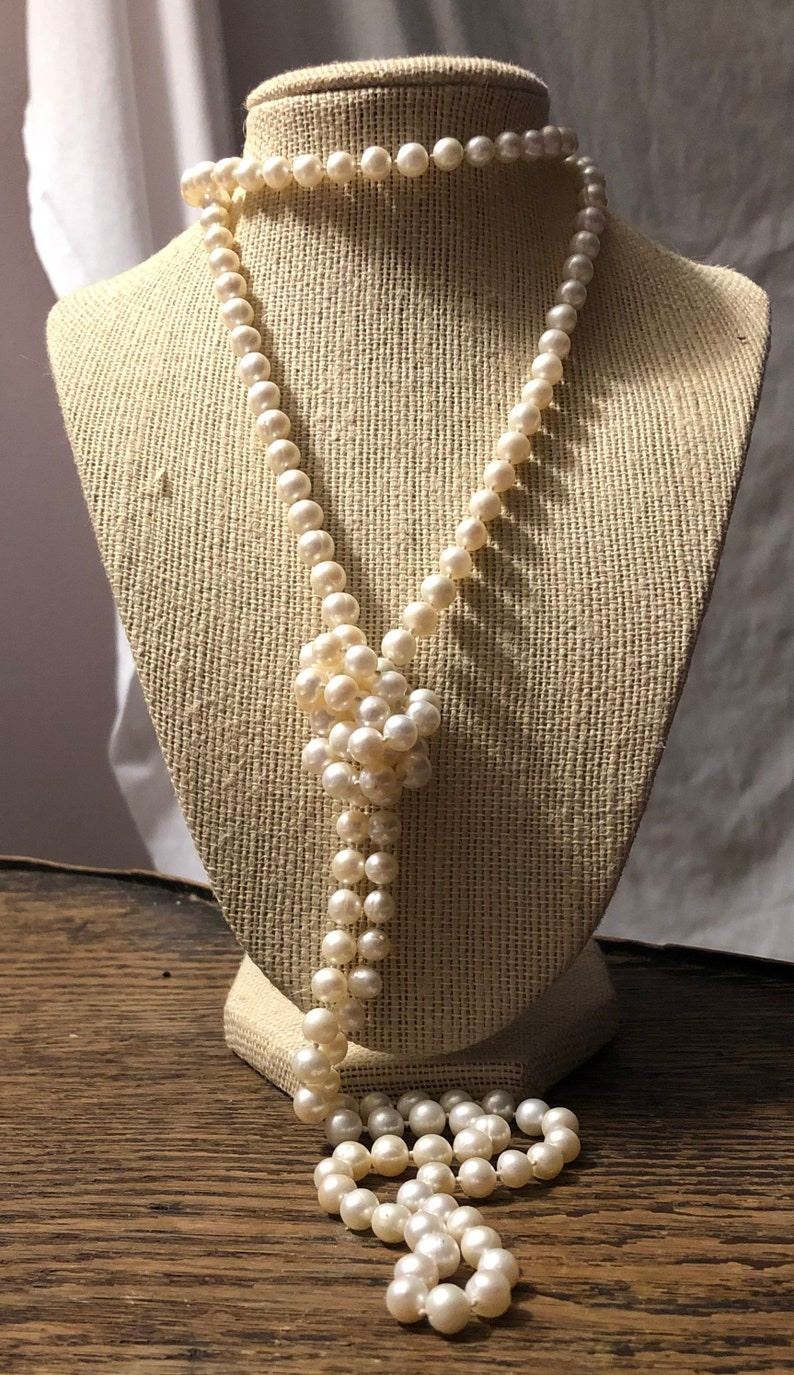 Cultured Pearl Necklace Opera Length Baroque Pearls 52 inches Freshwater Pearl Necklace Knotted Pearl Strand Flapper Bead Length!