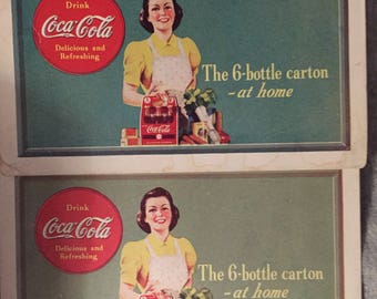 SALE Art Deco Coca Cola Ad 1940s Paper Coke Memorabilia Vintage Coupons, COLA ADVERTISING 1940s-50s Free Coke 6 Pk Opelika Coca-Cola Bottle