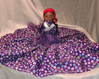 Vintage Nepali Half Doll in Purple Floral Dress with Baby Handmade Nepalese Culture Doll Mother and Child Folk Art from Nepal