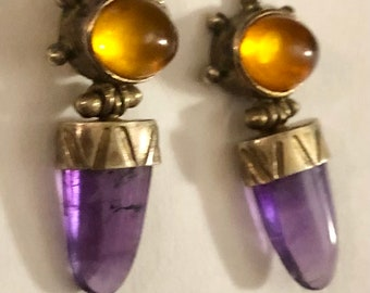Vintage Modernist Amber and Amethyst Earrings for Pierced Ears Modernist Handmade Pierced Amethyst Earrings