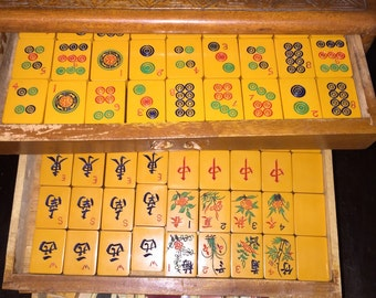 Bakelite Mah Jong Set Two Toned Tiles in Carved Wooden Case w Instruction Book and More