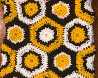 Vintage Crocheted Purse Big Cool Hippie Crossover Bag in Brown and Yellow Crochet Granny Square Happy Hexagon Afghan Blanket Purse