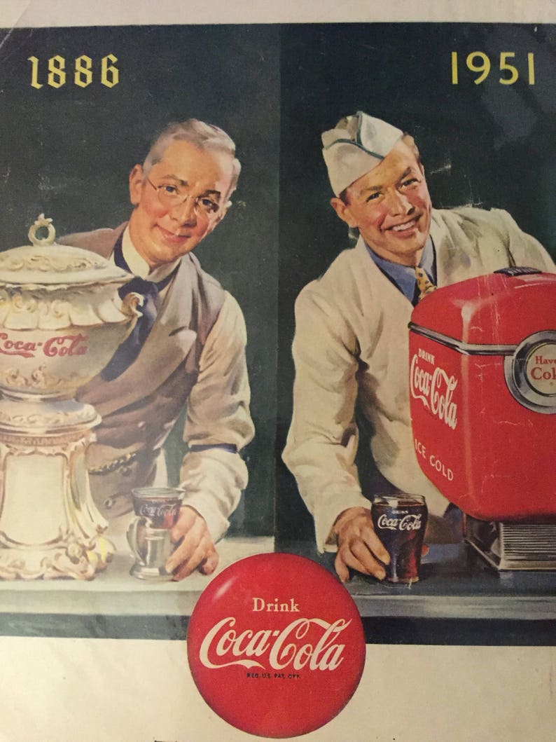1951 Coca Cola Ad Vintage Coke Anniversary Advertising Print 65th  Anniversary 1886-1951 Flip Side: Old Grand-Dad Whiskey Ad