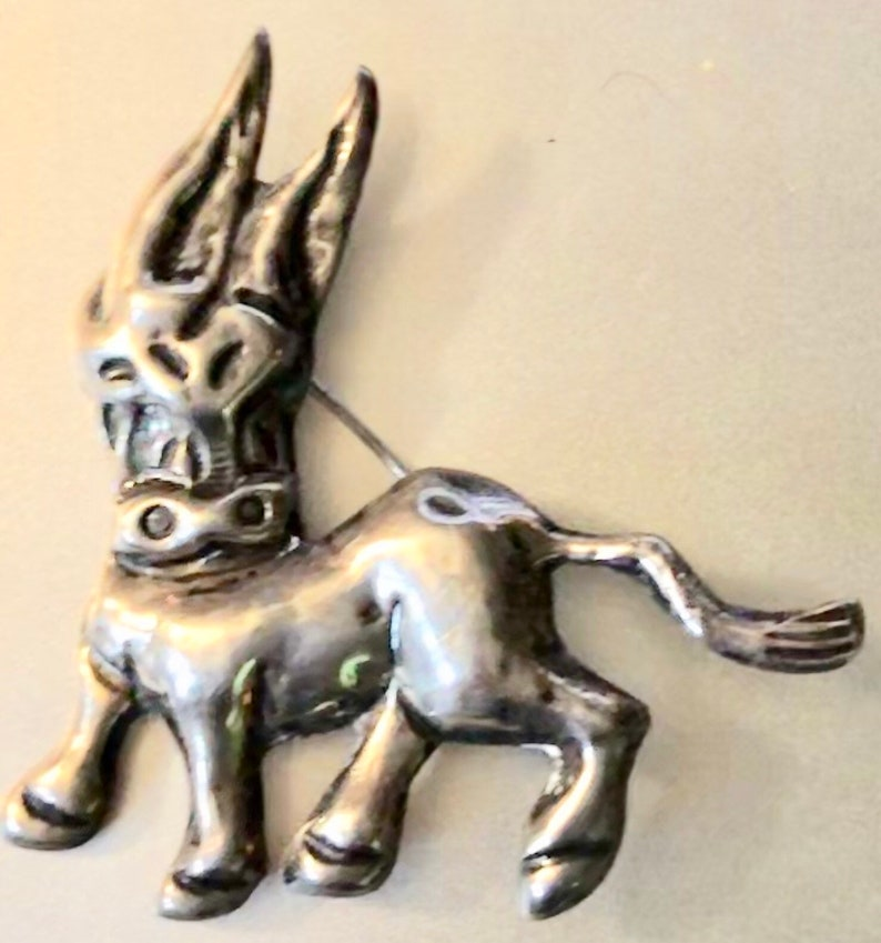 Vintage Mexican Silver Donkey Brooch Large Adorable Burro image 0