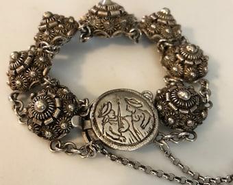 Rare 1800s Antique Dutch Button Bracelet Zeeuwse Knop Silver Cannetille Filigree Lace Zeeuwse Knoppen Zeeland