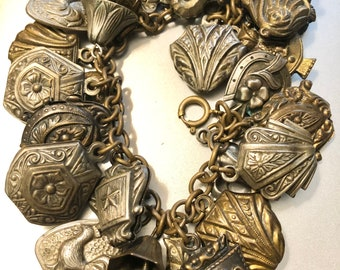 Brass Art Deco Charm Trinket Bracelet Lucky Clovers Owls Roosters Fleur-de-lis Horseshoes ca 1930s