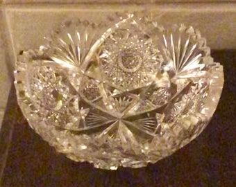 Cut Crystal Bowl American Brilliant Period Victorian Cut Crystal Saw Tooth 1800s ABP Antique Lead Crystal Fruit Bowl