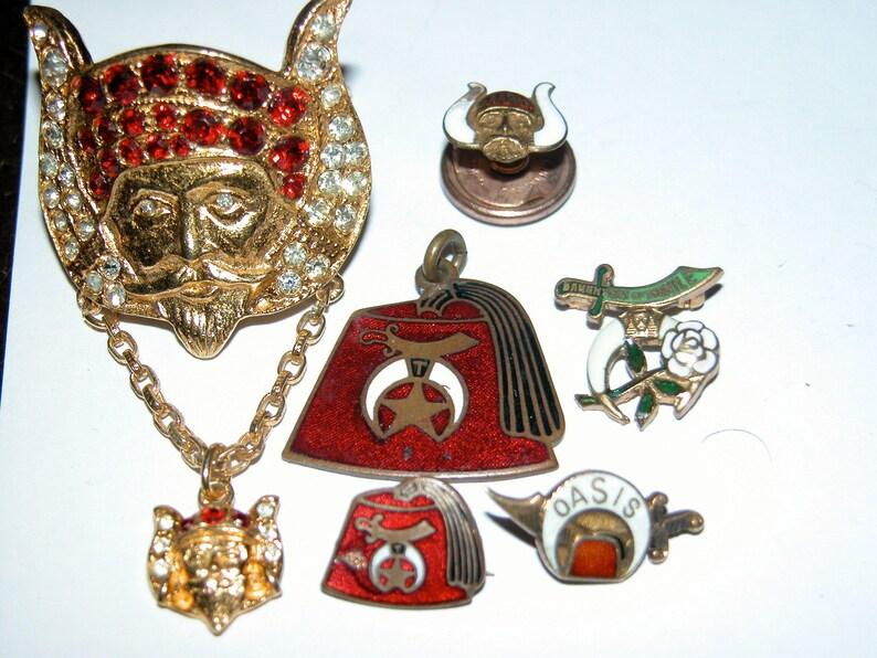 Mystic Order Veiled Prophets Art Deco Antique Temple Lapel Pin image 0