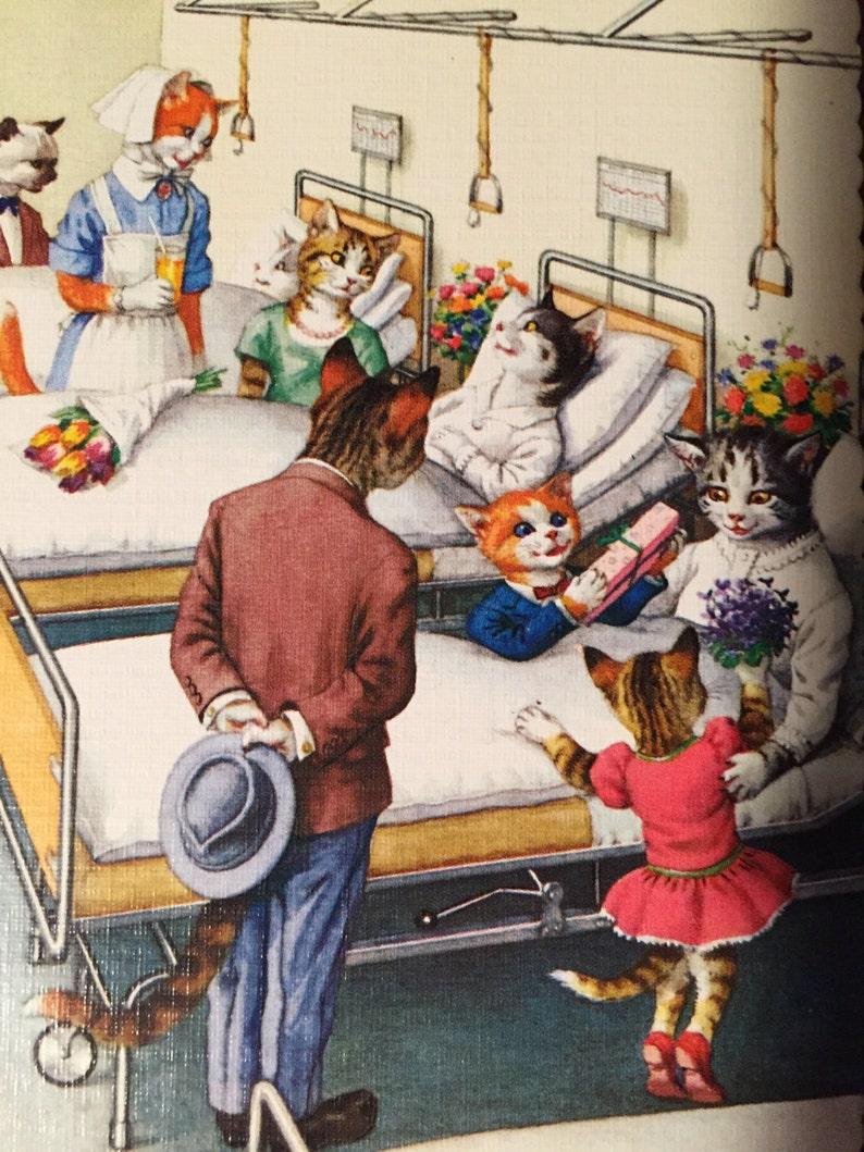 4 Printed in Spain SALE Vintage Alfred Mainzer Postcard Dressed Cats Visiting Kitties in Hospital Hartung Anthropomorphic Felines