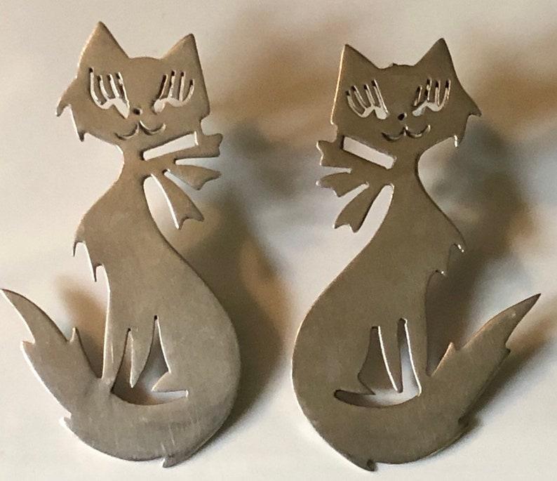 Vintage Cat Earrings Sterling Silver Cat Earrings Mexican image 0