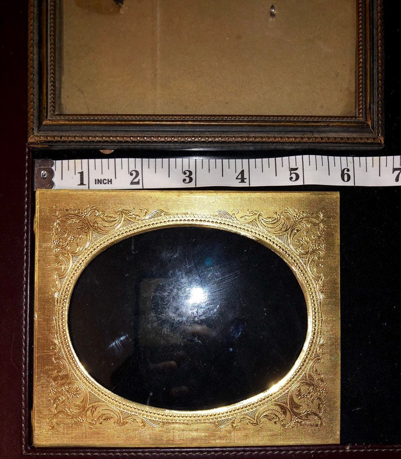 Antique Victorian Frame w Ornate Oval Metal Insert SALE