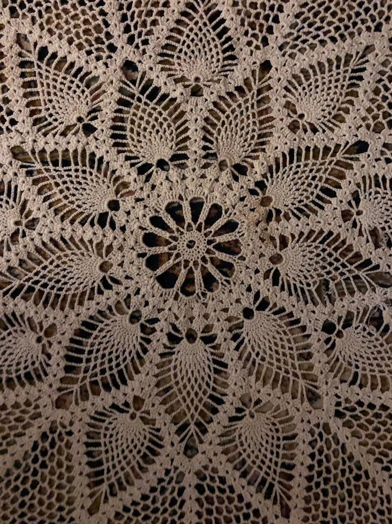 Handmade Crocheted Round Table Cloth Ecru Cotton 37 Diameter Pineapple Like Design