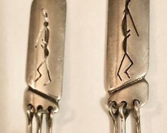 Vintage Native American Kokopelli Shadowbox Sterling Earrings