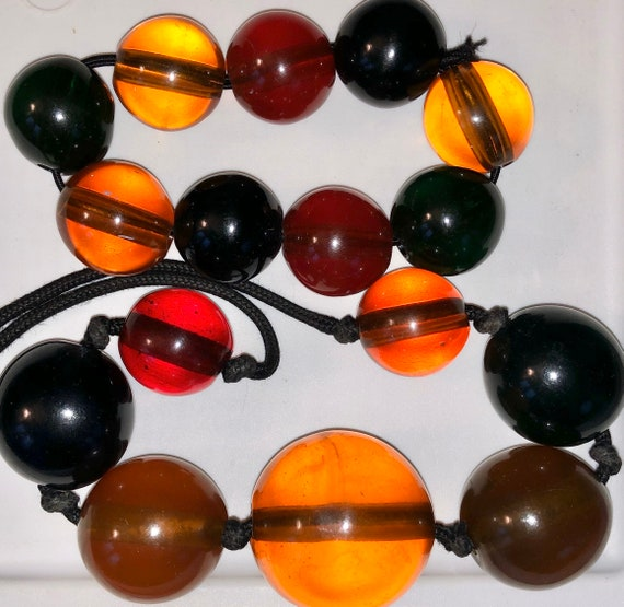 MOD Jawbreaker Beads Necklace Set Midcentury Luci… - image 3