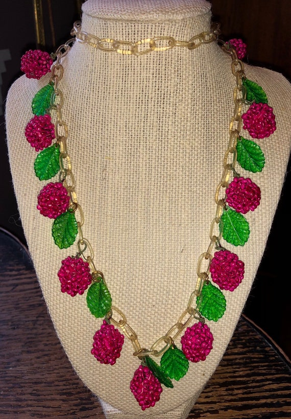 Art Deco Celluloid Raspberry Dangle Necklace Authe