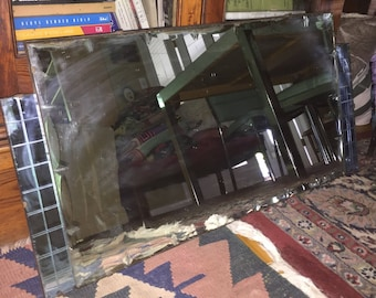 Deco Blue Beveled Wall Mirror Cobalt and Clear English Art Deco Mirror Needs Tightening & Minor Restoration SALE