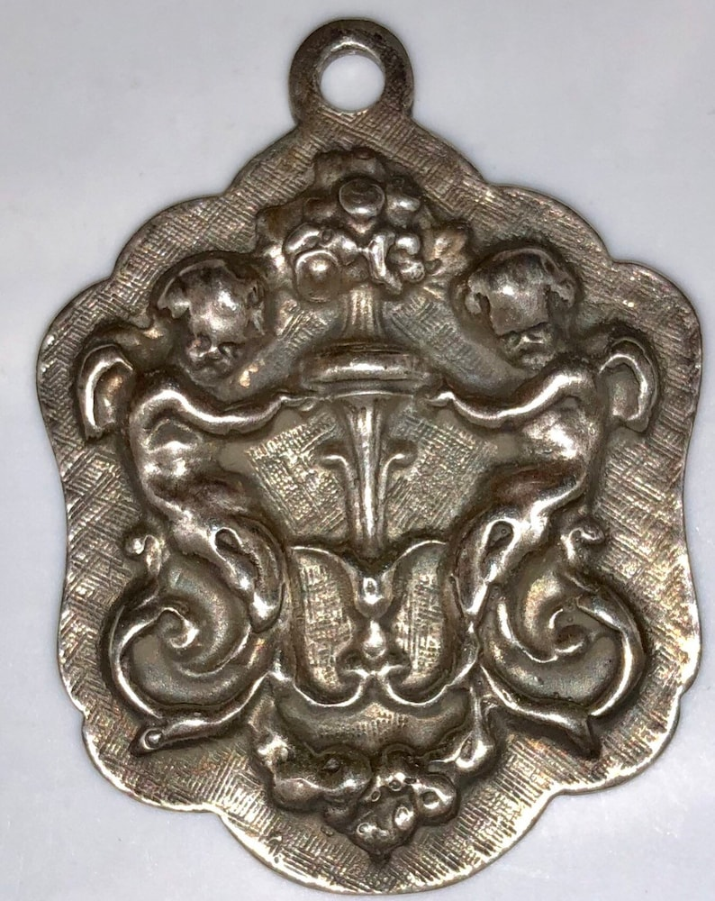 Vintage Gorham Sterling Watch Fob Medallion Ornate Cherubs image 0