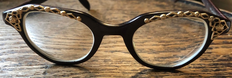 Authentic Vintage Cat Eye Glasses Fifth Avenue Specs Dark image 0