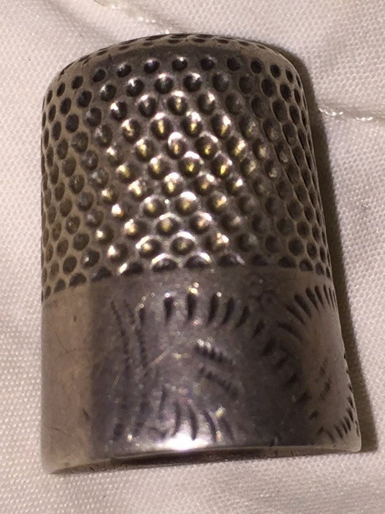 Sterling Sewing Thimble Sterling Antique Thimble Hand Etched image 0