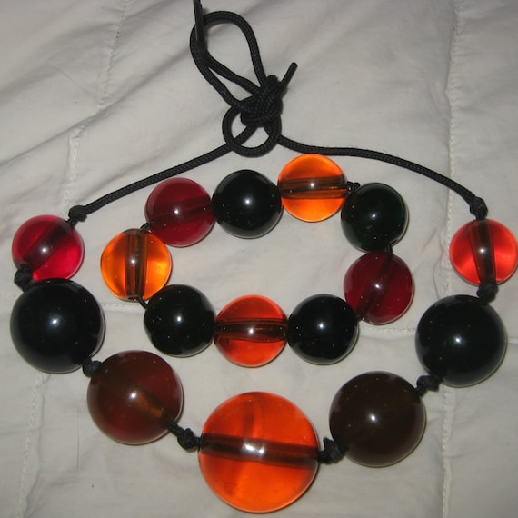 MOD Jawbreaker Beads Necklace Set Midcentury Luci… - image 2