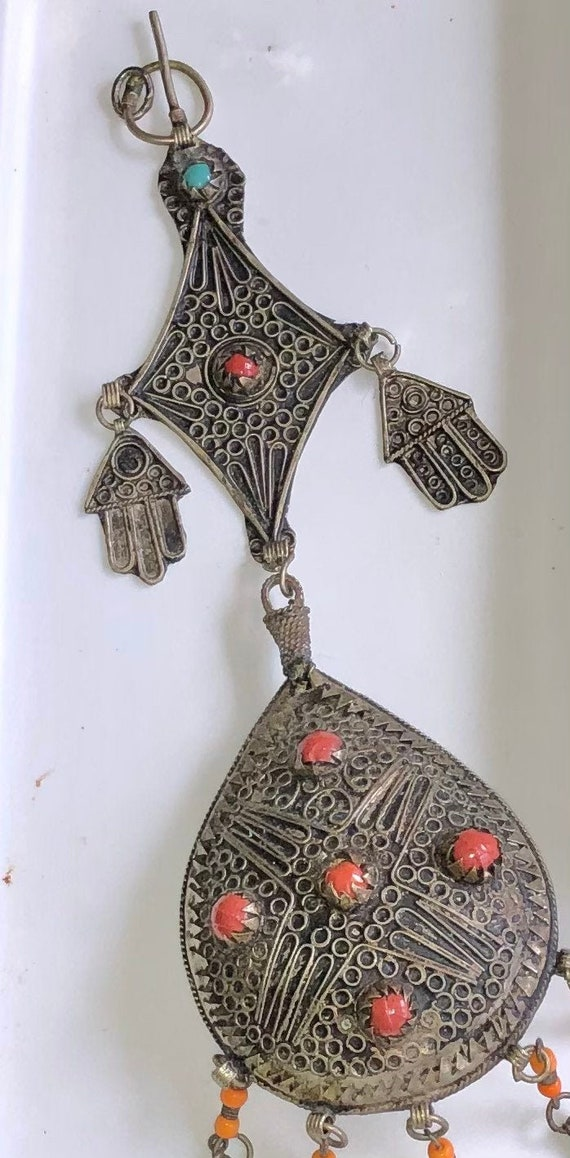 Handmade Vintage Rare Real Old Sterling Silver Dangles Red and green Stone Pendant Tribal Boho Charm Antique Silver Bell Necklace Pendant