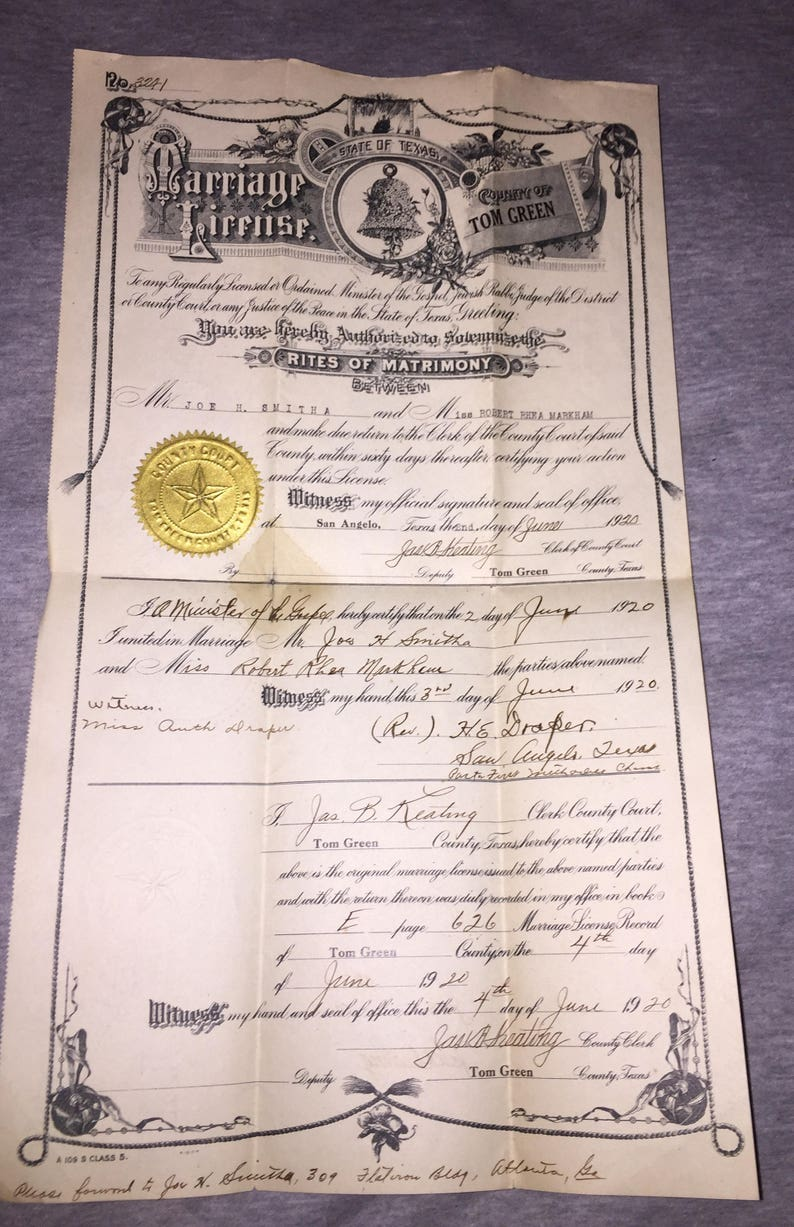 1920 Texas Marriage License Certificate Rites of Matrimony Document Mr Joe  Smitha and Miss Robert Rhea Marham SALE