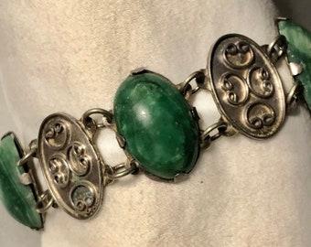 Vintage Mexican Jade Serpentine Silver Paneled Bracelet