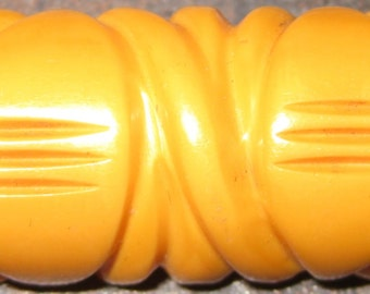 SALE Carved Bakelite Brooch Creamed Corn Yellow Vintage Art Deco Heavily Hand Carved Brooch circa 1930s-40s Handsome Authentic