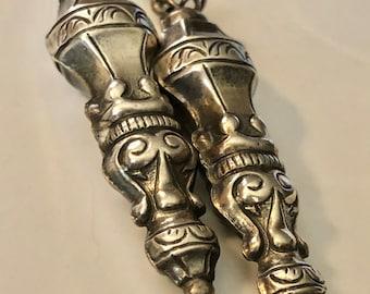 Antique Dutch Silver Needle Case Lariat Necklace Dutch Repoussé Silver Mid 1800s Victorian Chatelaine Lariat Necklace