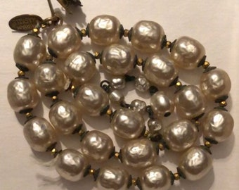 Antique Miriam Haskell Baroque Pearl Necklace Restoration Piece Needs Restringing 17 Inch Haskell Champagne Pearl Choker