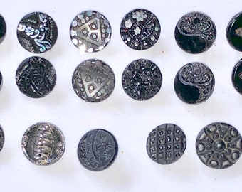 Ornate Victorian Button Collection Goth Mourning Steampunk Button Antique Black Glass Victorian Edwardian