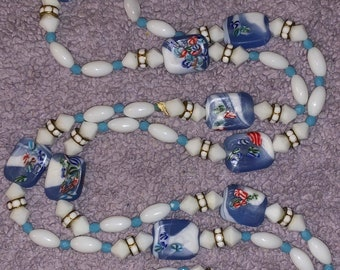Flapper Bead Necklace Pastel Art Glass Hard Candy Beads Approx 58 Inches Long!